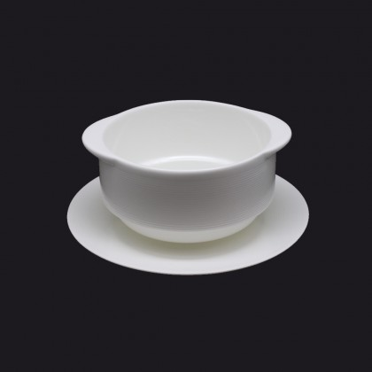 """(Set of 2) Nakano Hans Fine Porcelain Soup Bowl Cup With Handle & Saucer 6"""" - 220ml"""